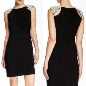 Adrianna Papell Black Cocktail Dress w/ Pearls